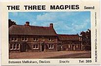 Three magpies matchbox cover
