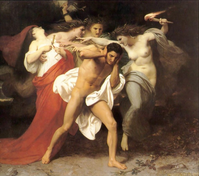 Orestes tormented by the Erinyes for killing his mother