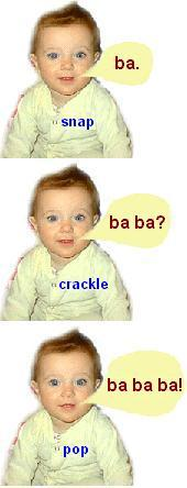 3 images of a baby in successive babbling mode.