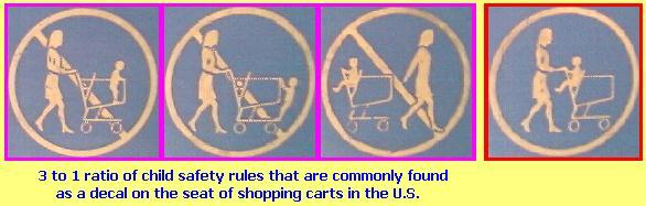 child safety decal on shopping cart seats