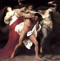 3 Erinnyes and Orestes after he killed his mother (9K)