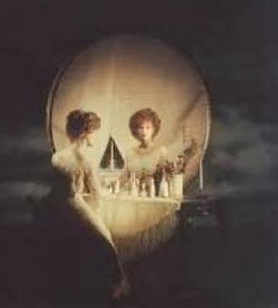 Skull or woman in mirror?